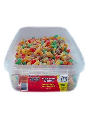 Mini Sour Worms, Tub of 600 pcs, 1p Range