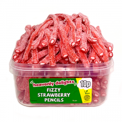 Fizzy Strawberry Pencils, Tub of 75 pcs, 10p Range
