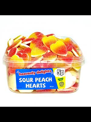 Sour Peach Hearts, Tub of 120 pcs, 5p Range
